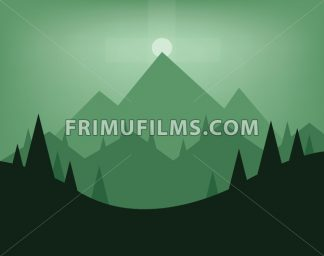 Abstract landscape design with green trees, hills, fog and the moon at night, flat style. Digital vector image. - frimufilms.com