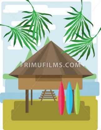 Abstract landscape design with palm trees and clouds, wooden tribal house with surf boards, flat style. Digital vector image. - frimufilms.com