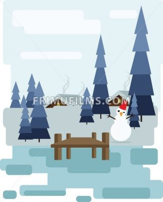 Abstract landscape design with white trees and clouds, a house with smoke, a happy snowman, snowing in a forest in winter, flat style. Digital vector image. - frimufilms.com