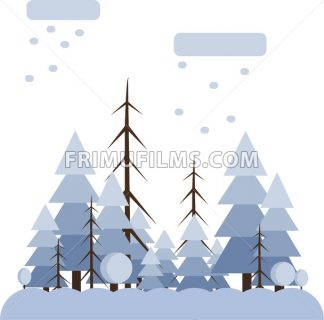 Abstract landscape design with white trees and clouds, snowing in a forest in winter, flat style. Digital vector image. - frimufilms.com