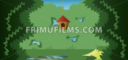 Abstract landscape with a cage for birds in a meadow in the forest. Digital vector image - frimufilms.com