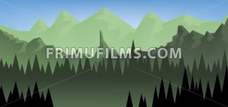Abstract landscape with a dark forest and green fields with mountains. Digital vector image - frimufilms.com