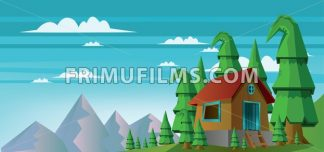 Abstract landscape with a house in the forest and mountains with white clouds. Digital vector image - frimufilms.com