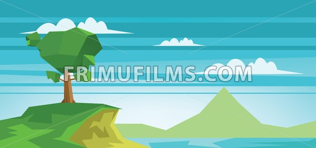Abstract landscape with a lake and a green tree. Digital vector image - frimufilms.com