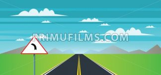 Abstract landscape with a road sign, green field and mountains. Digital vector image - frimufilms.com