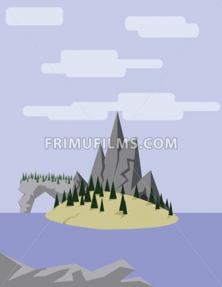 Abstract landscape with an yellow island on purple waters with pine trees, hills and mountains, over a light purple background with white clouds. Digital vector image. - frimufilms.com