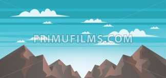 Abstract landscape with brown mountains, white clouds and blue skies. Digital vector image - frimufilms.com