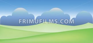 Abstract landscape with green fields and clouds. Digital vector image - frimufilms.com