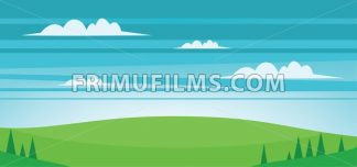 Abstract landscape with green fields, trees and clouds. Digital vector image - frimufilms.com