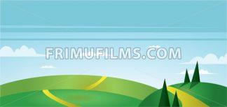 Abstract landscape with green fields, trees, paths and clouds. Digital vector image - frimufilms.com