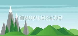Abstract landscape with green fields, trees silver mountains with snow on top. Digital vector image - frimufilms.com