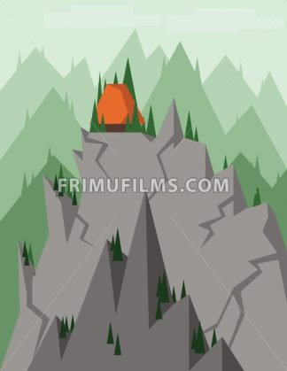 Abstract landscape with pine trees, an orange house on top of silver rocks and mountains, over a light background with clouds. Digital vector image. - frimufilms.com