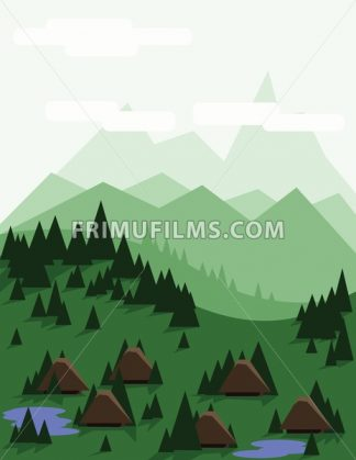 Abstract landscape with pine trees, brown houses, blue lakes, green hills and mountains, over a light green background with white clouds. Digital vector image. - frimufilms.com