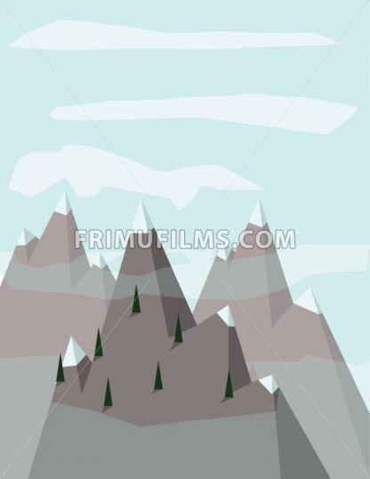 Abstract landscape with pine trees on silver mountains with snow on top, over a light blue background with white clouds. Digital vector image. - frimufilms.com