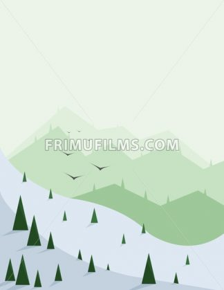 Abstract landscape with pine trees, snow, birds and green hills, over a light green background. Digital vector image. - frimufilms.com