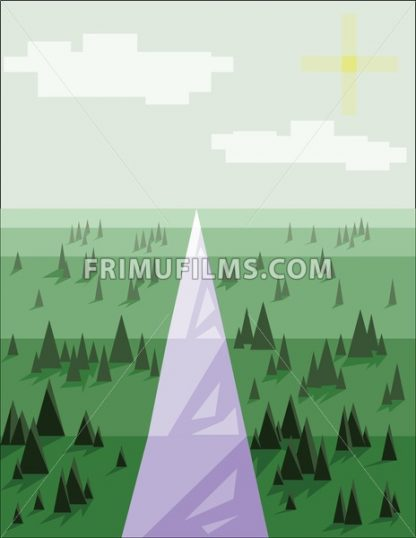Abstract landscape with pine trees, snow, sun and purple road, over a light green background. Digital vector image. - frimufilms.com
