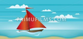 Abstract landscape with red boat, blue sea, white clouds and seashore. Digital vector image - frimufilms.com