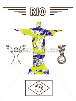 Abstract medal and rio design in outlines with statue over white background. Digital vector image - frimufilms.com