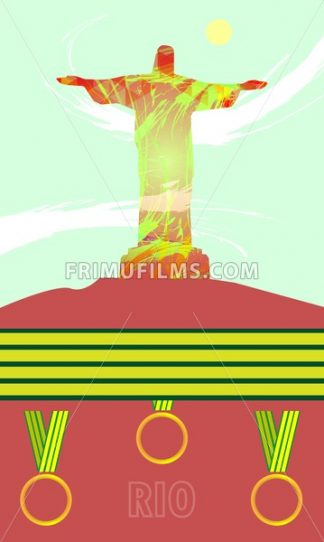 Abstract medal and rio design with statue over light green background with yellow sun. Digital vector image - frimufilms.com