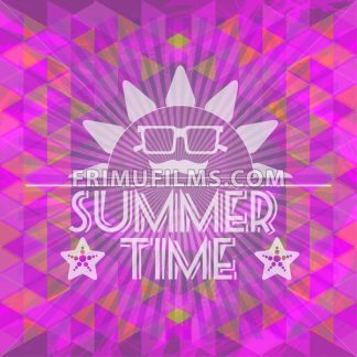Abstract purple summer time infographic, a big sun with glasses and smile, Digital vector image - frimufilms.com