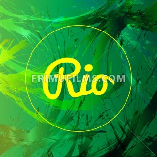 Abstract rio card design with yellow circle over green splash painted background. Digital vector image - frimufilms.com