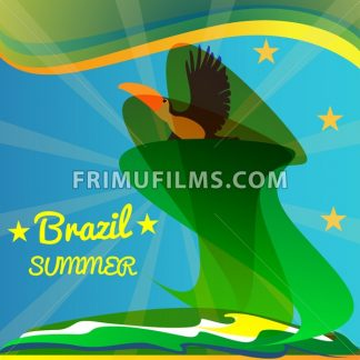 Abstract summer brazil card with toucan bird and stars over rays and sea background. Digital vector image - frimufilms.com