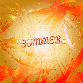 Abstract summer card design with white frame over orange splash painted background. Digital vector image - frimufilms.com
