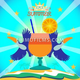 Abstract summer card with toucan birds and a cocktail on sand and sea background. Digital vector image - frimufilms.com