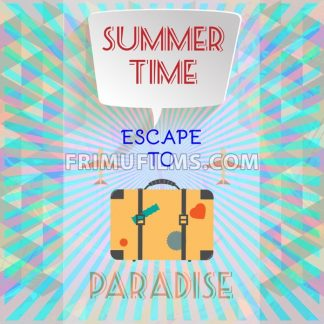 Abstract summer time infographic, with escape to paradise text, planes and travel accessories. Digital vector image - frimufilms.com