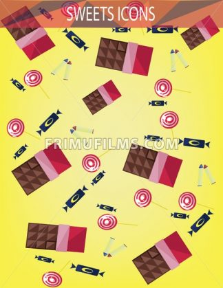 Abstract sweets icons set with candies, chocolate bars over an yellow background. Digital vector image. - frimufilms.com