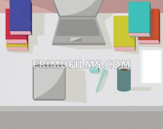 Abstract working place, modern office interior, flat design. Digital vector image - frimufilms.com