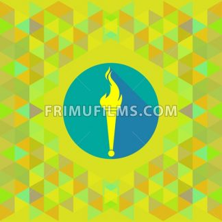 Abstract yellow burning torch on blue circle over yellow background. Digital vector image - frimufilms.com