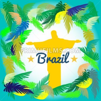 Abstract yellow statue with colored palm branches on the tropical background. Digital vector image - frimufilms.com