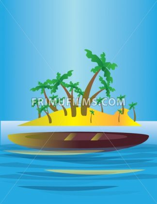An abstract island in the sea, with yellow land and green palms with a boat. Digital vector image. - frimufilms.com