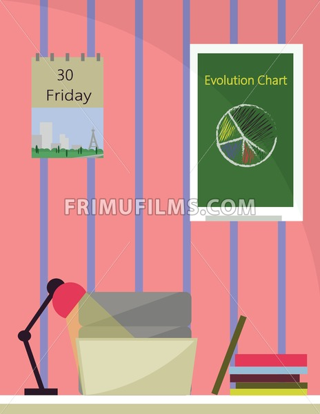 An office room with lamp on desk, books and a printer with notebook. Calendar and chart graphics on the wall. Digital vector image. - frimufilms.com