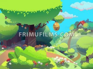 Bee tree in the forest near granny's house drawn in cartoon style. Digital background raster illustration. - frimufilms
