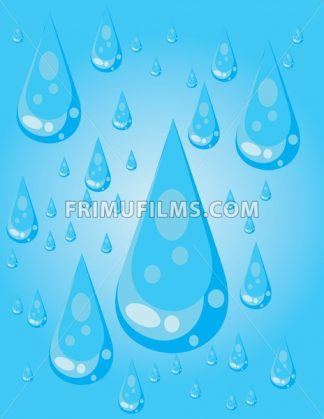 Big blue conic water drops with glows and reflections, over a blue background. Digital image vector. - frimufilms.com