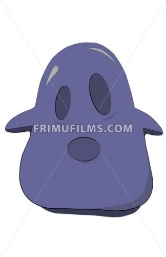 Blue oval and sad jelly character with two eyes, ears and an open mouth. Digital background vector illustration. - frimufilms.com