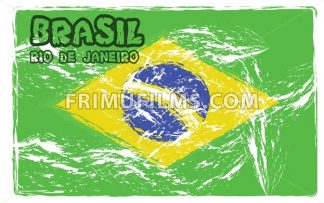 Brasil, Rio logo with national flag colors, hand drawn style. Digital vector image. - frimufilms.com