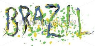 Brasil, logo with national flag colors, hand drawn style. Digital vector image. - frimufilms.com