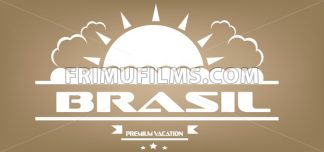 Brasil, premium vacation card with sun and clouds over brown background, in outlines. Digital vector image - frimufilms.com