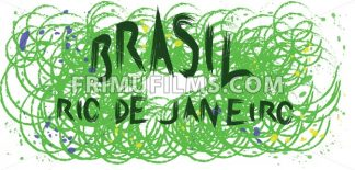 Brasil, rio de janeiro hand drawn card with splash painted background with circles. Digital vector image - frimufilms.com