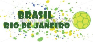 Brasil, rio de janeiro sport card with soccer ball over splash painted background. Digital vector image - frimufilms.com