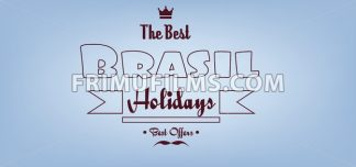 Brasil, the best holidays card with crown and mustache over light blue background with, in outlines. Digital vector image - frimufilms.com