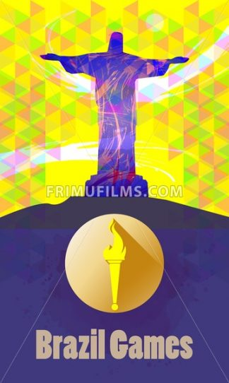 Brazil games, burning torch and statue over yellow background. Digital vector image. - frimufilms.com