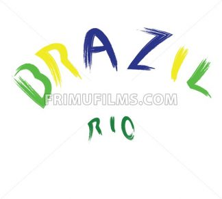 Brazil rio logo, colored, hand drawn text on white backdrop. Digital vector image - frimufilms.com