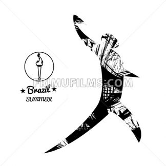 Brazil summer sport card with an abstract discus thrower, in black outlines. Digital vector image - frimufilms.com