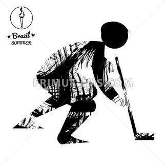 Brazil summer sport card with an abstract hockey player, in black outlines. Digital vector image - frimufilms.com
