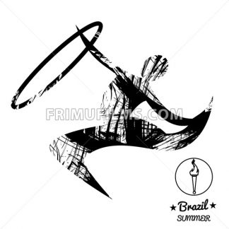 Brazil summer sport card with an abstract rhythmic hoop gymnastics player, in black outlines. Digital vector image - frimufilms.com