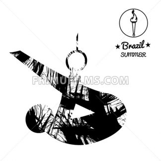 Brazil summer sport card with an abstract sportsman performing gymnastics on rings, in black outlines. Digital vector image - frimufilms.com